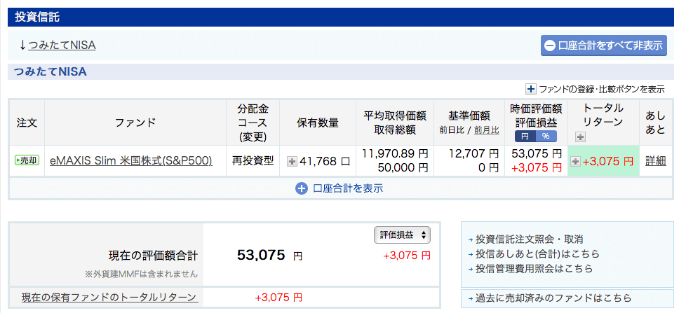 楽天証券投資信託8月SP500