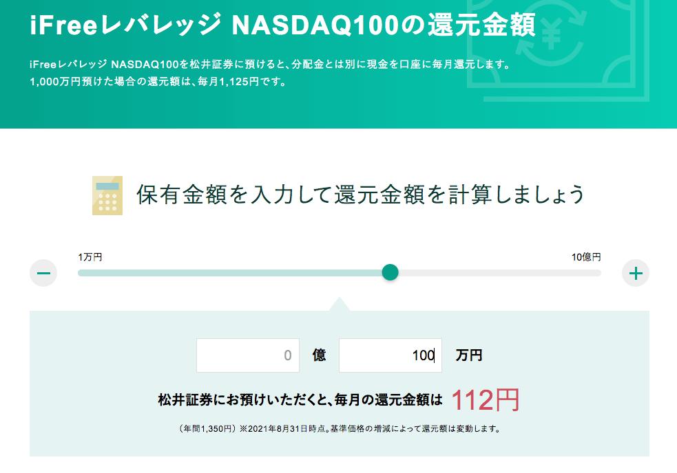 レバナス100万円還元
